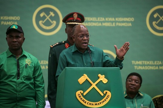 President John Magufuli speaks at the national congress of the ruling party in Dodoma, Tanzania.