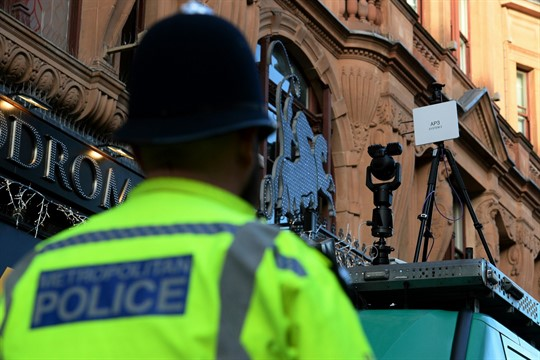Police test facial recognition technology in London, Dec. 17, 2018.