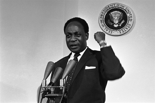 Kwame Nkrumah during a press conference at the White House in 1961
