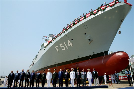 Turkish President Recep Tayyip Erdogan and officials launch a new Turkish Navy ship