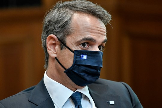 Greek Prime Minister Kyriakos Mitsotakis during a meeting at Maximos Mansion in Athens