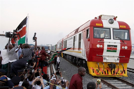 A cargo train rides on a Chinese-backed railway, Kenya's largest infrastructure project since independence