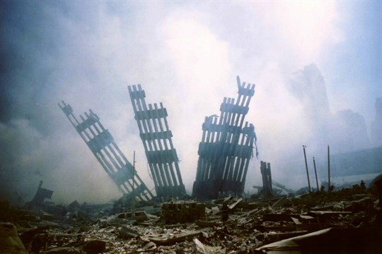 The remains of the World Trade Center following the 9/11 terrorist attack in New York