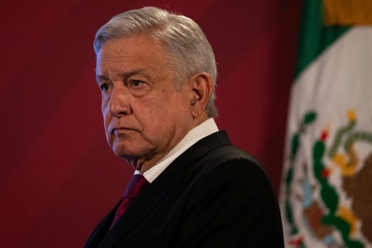 Mexican President Andres Manuel Lopez Obrador at his daily, morning news conference at the presidential palace.