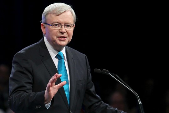 Then-Australian Prime Minister Kevin Rudd during a campaign launch in Brisbane, Australia
