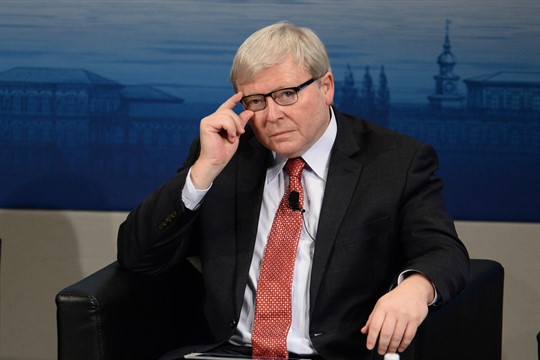 Then-Australian Prime Minister Kevin Rudd attends the 52nd Munich Security Conference in 2016