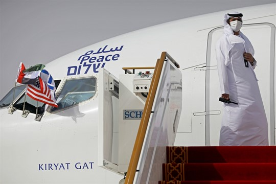 An Israeli El Al airliner in Abu Dhabi, UAE, after a ceremonial flight from Tel Aviv
