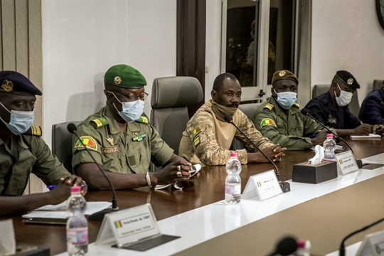 Mali's coup leaders during a meeting with a high-level delegation from ECOWAS in Bamako, Mali