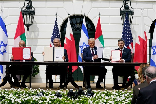 President Trump, Israeli Prime Minister Netanyahu and the foreign ministers from the UAE and Bahrain
