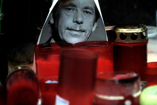 A portrait of Vaclav Havel next to candles at Wenceslas square in Prague, Czech Republic.