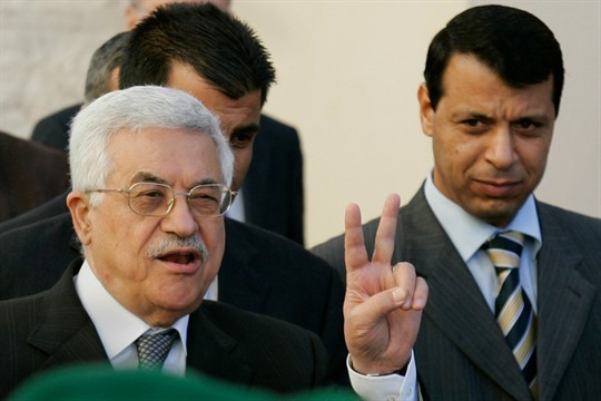 Palestinian Authority President Mahmoud Abbas, left, and then-Fatah official Mohammed Dahlan in Ramallah