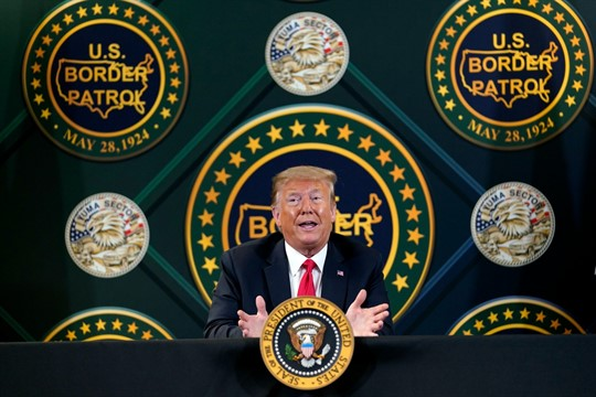 President Donald Trump participates in a border security briefing at a United States Border Patrol station