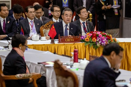 Chinese Foreign Minister Wang Yi attends the Special ASEAN-China Foreign Ministers' meeting on the novel coronavirus