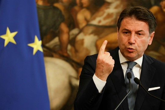 Italian Prime Minister Giuseppe Conte speaks at a press conference at Chigi Palace, in Rome.