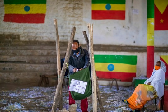 A man casts his vote in a local election in the Tigray region of Ethiopia.