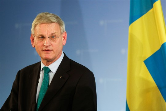 Sweden's then-foreign minister, Carl Bildt, at a press briefing in Berlin, Germany