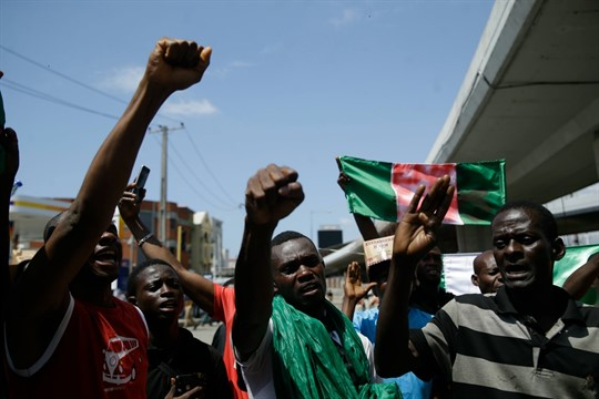 People protest against police brutality in Lagos, Nigeria