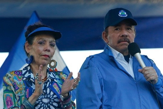 Nicaraguan President Daniel Ortega and his wife, Vice President Rosario Murillo, during a rally in Managua