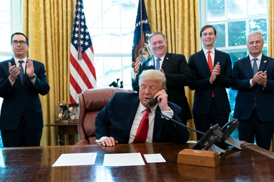 President Donald Trump talks on a phone call with the leaders of Sudan and Israel.