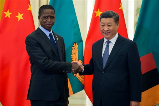 Zambian President Edgar Lungu shakes hands with Chinese leader Xi Jinping in Beijing.