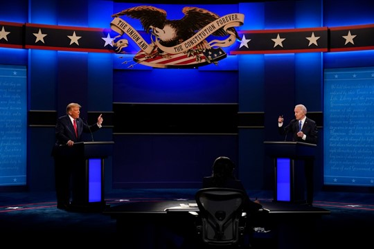 President Donald Trump and Democratic presidential candidate Joe Biden during the second and final presidential debate