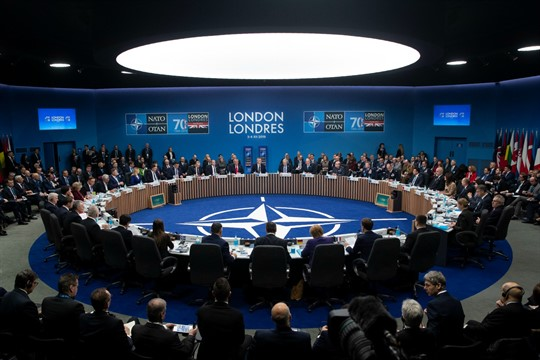 A plenary session at the NATO summit in Watford, England, Dec. 2019