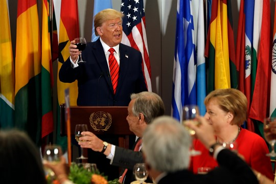 President Donald Trump gives a toast at a luncheon hosted by U.N. Secretary-General Antonio Guterres.