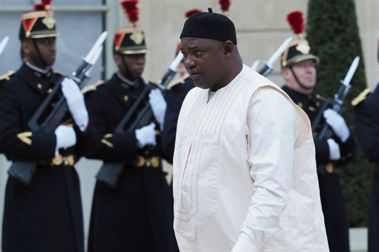Gambian President Adama Barrow arrives at the Elysee Palace, in Paris