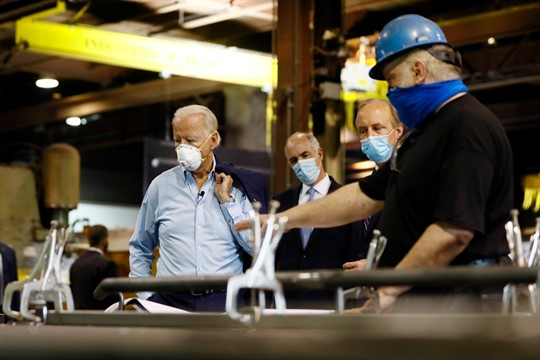 Then-Democratic presidential candidate Joe Biden tours a metal fabricating facility in Dunmore, Pa.