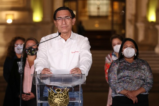 Former Peruvian President Martin Vizcarra speaks in front of the presidential palace