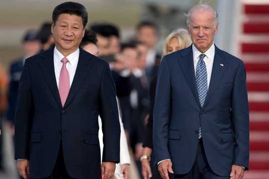 Chinese leader Xi Jinping and then-U.S. Vice President Joe Biden at Andrews Air Force Base