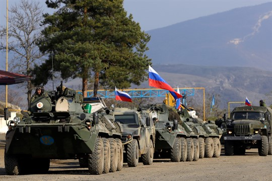 Russian peacekeepers' military vehicles at a check point in the separatist region of Nagorno-Karabakh