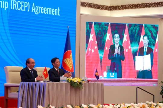 The RCEP signing ceremony in Hanoi, Vietnam