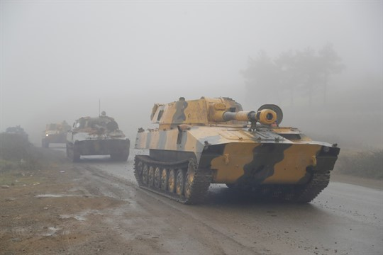 Armenian self-propelled artillery units during the withdrawal of Armenian troops from the separatist region of Nagorno-Karabakh