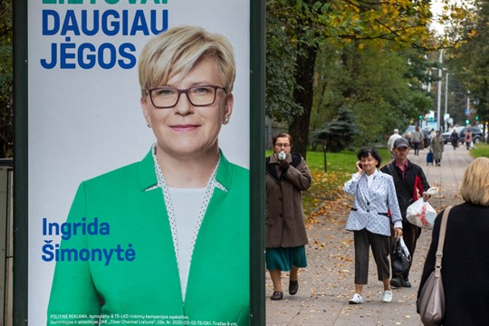 An election poster showing Lithuania's incoming prime minister, Ingrida Simonyte, in Vilnius.