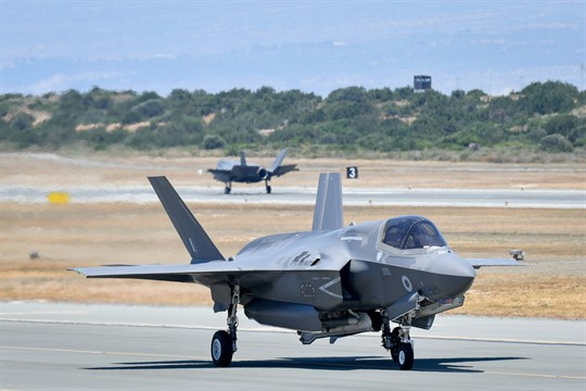 An F-35 arriving back at RAF Akrotiri base in Cyprus.