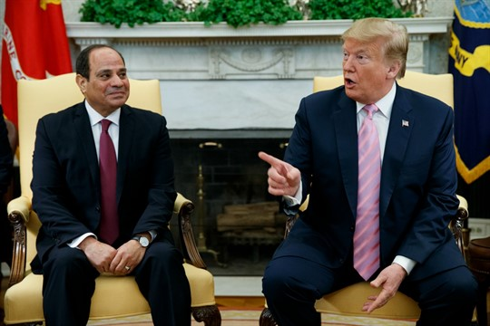President Donald Trump meets with Egyptian President Abdel Fattah el-Sisi in the Oval Office