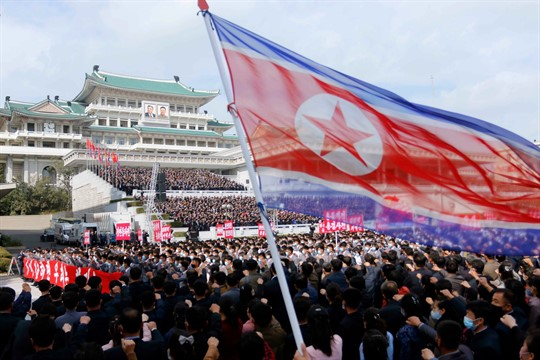 Thousands attend a rally for the 8th Congress of the Workers' Party of Korea in Pyongyang