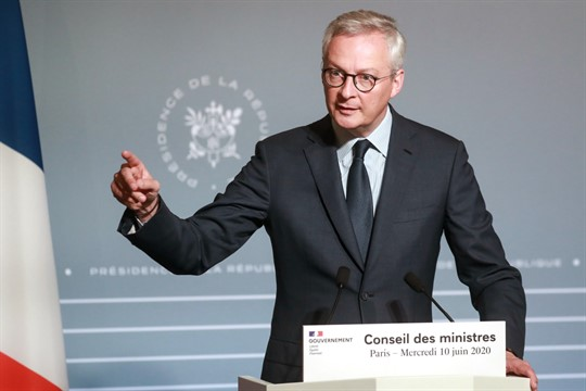 French Finance Minister Bruno Le Maire attends a press conference in Paris
