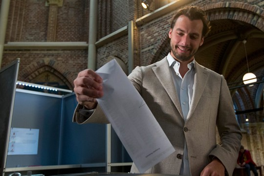 Thierry Baudet, leader of the party Forum for Democracy, casts a ballot in Amsterdam