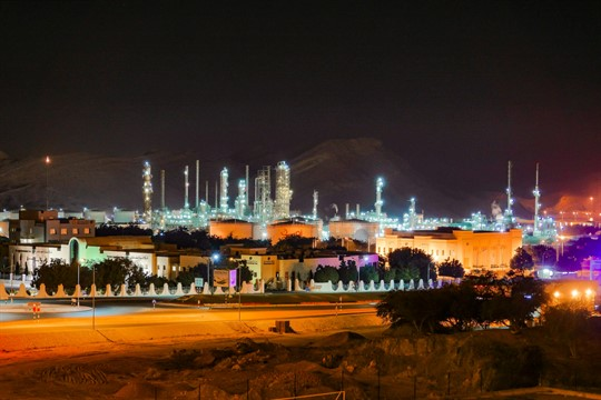 A nighttime view of Mina Al Fahal Shell refinery in Muscat, Oman.