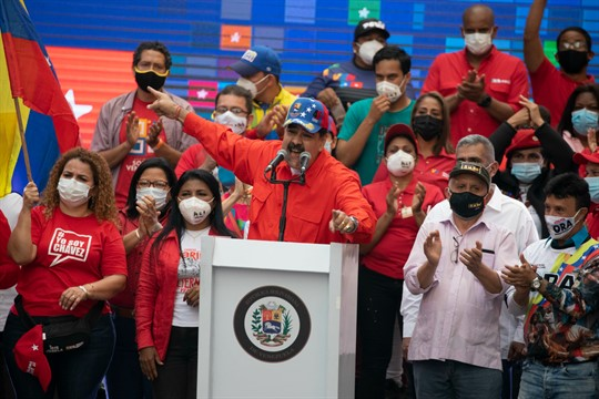 Venezuelan President Nicolas Maduro speaks at a closing campaign rally for the upcoming National Assembly elections