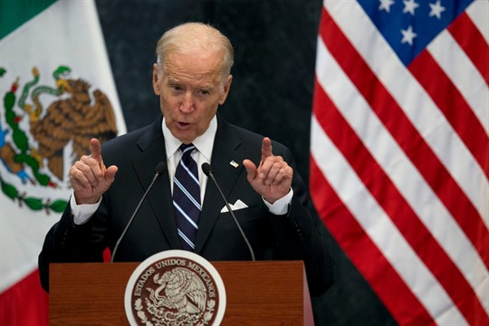 Then-Vice President Joe Biden during a press conference in Mexico City