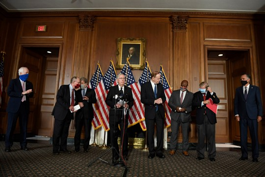 Senate Majority Leader Mitch McConnell and other Republican senators during a news conference in Washington