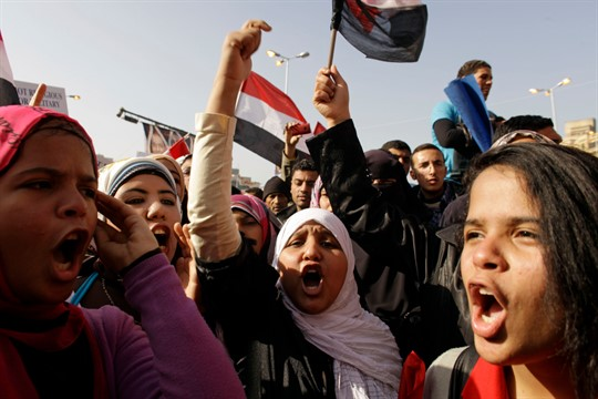 Egyptian girls at a rally in Tahrir Square, Cairo, in 2012.