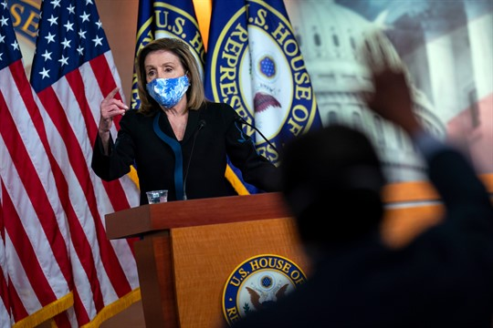 Speaker of the House Nancy Pelosi briefs reporters on Capitol Hill, in Washington.
