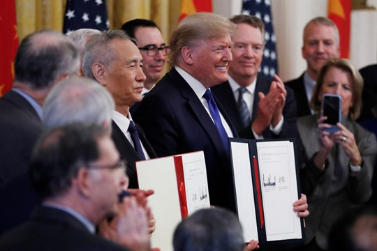 President Donald Trump and Chinese Vice Premier Liu He in the White House