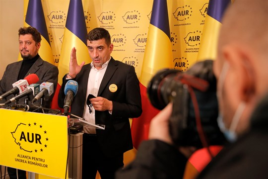 George Simion and Claudiu Tarziu, leaders of the Alliance for Romanian Unity, in Bucharest, Romania