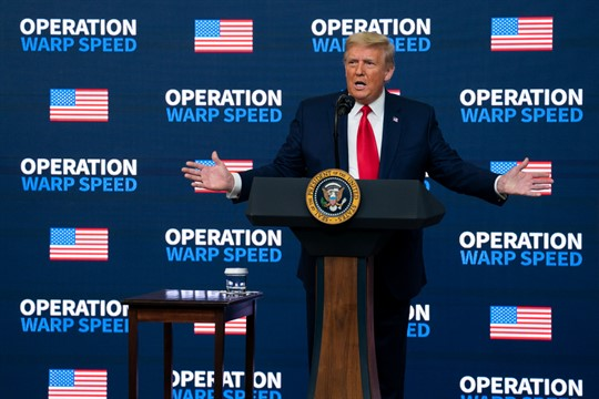 """President Donald Trump speaks during an """"Operation Warp Speed Vaccine Summit"""" at the White House"""