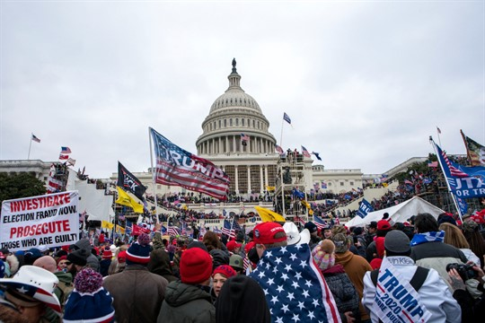 Supporters of President Donald Trump outside the U.S. Capitol as it was stormed by rioters.